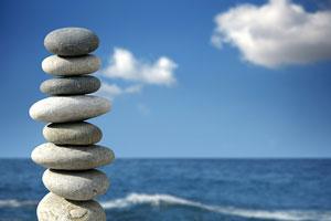 carefully chosen stones, balanced in a stack