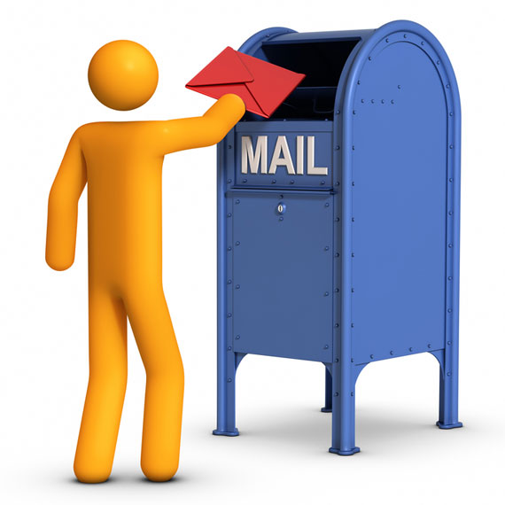 mailing a letter in a mailbox