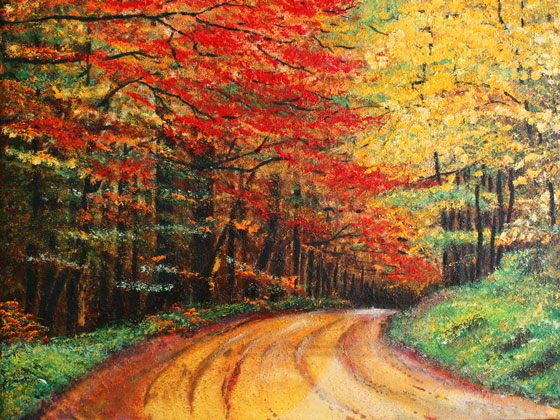 oil painting of a dirt road and colorful Autumn leaves