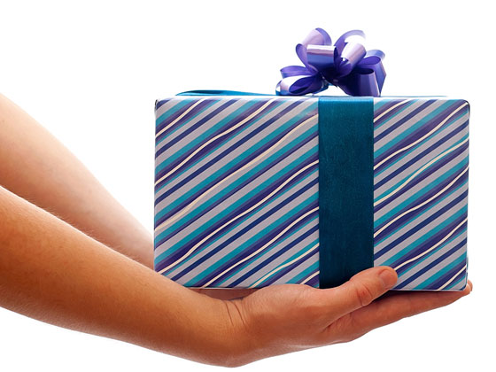 man presenting a gift