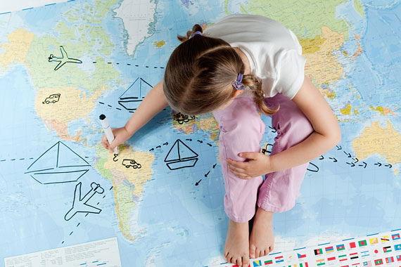 travel planning on a world map